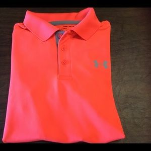 Under Armour bright orange polo golf shirt yth med